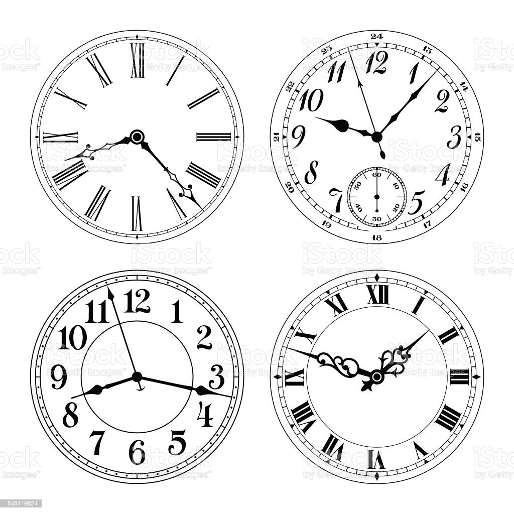 Different clock faces vector art illustration