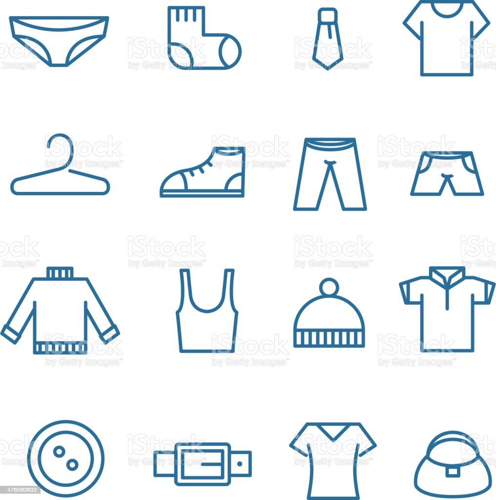 Different clothes silhouettes vector art illustration