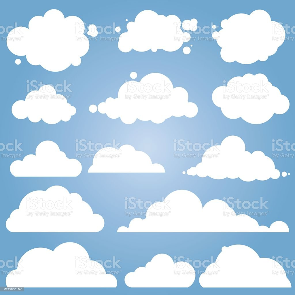 different cloud vector set vector art illustration