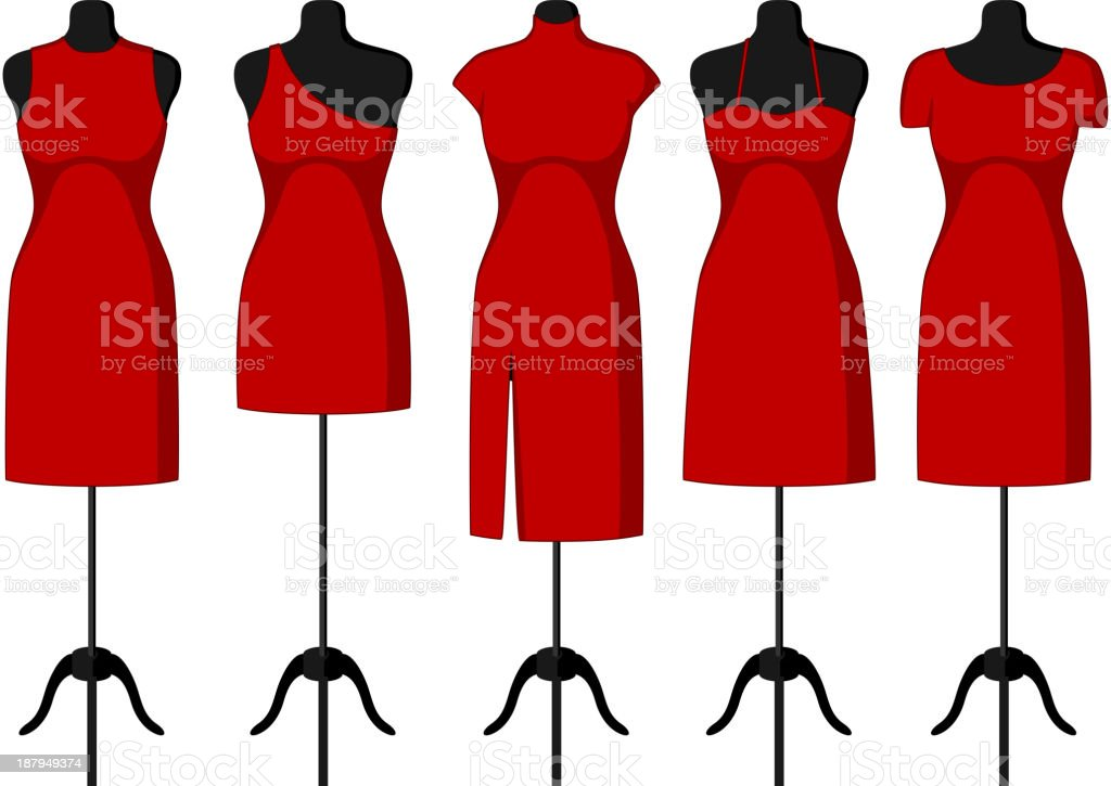 Different Cocktail and Evening Dresses on a mannequin vector art illustration