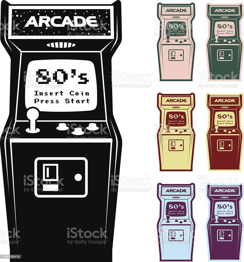 Different Color Options Of Video Arcade Machine vector art illustration