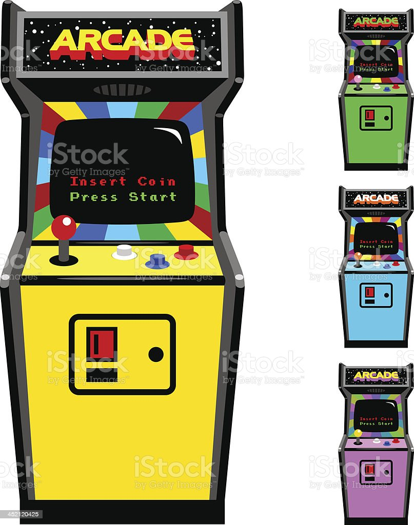Different Color Options Of Video Game Arcade Cabinet vector art illustration