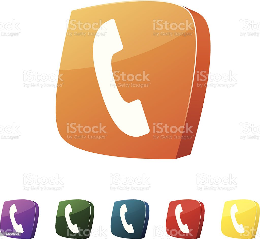 Different color phone call icon set royalty-free stock vector art