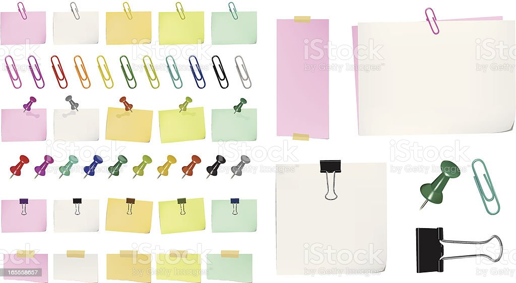 Different color post it notes, tacks and paper clips vector art illustration