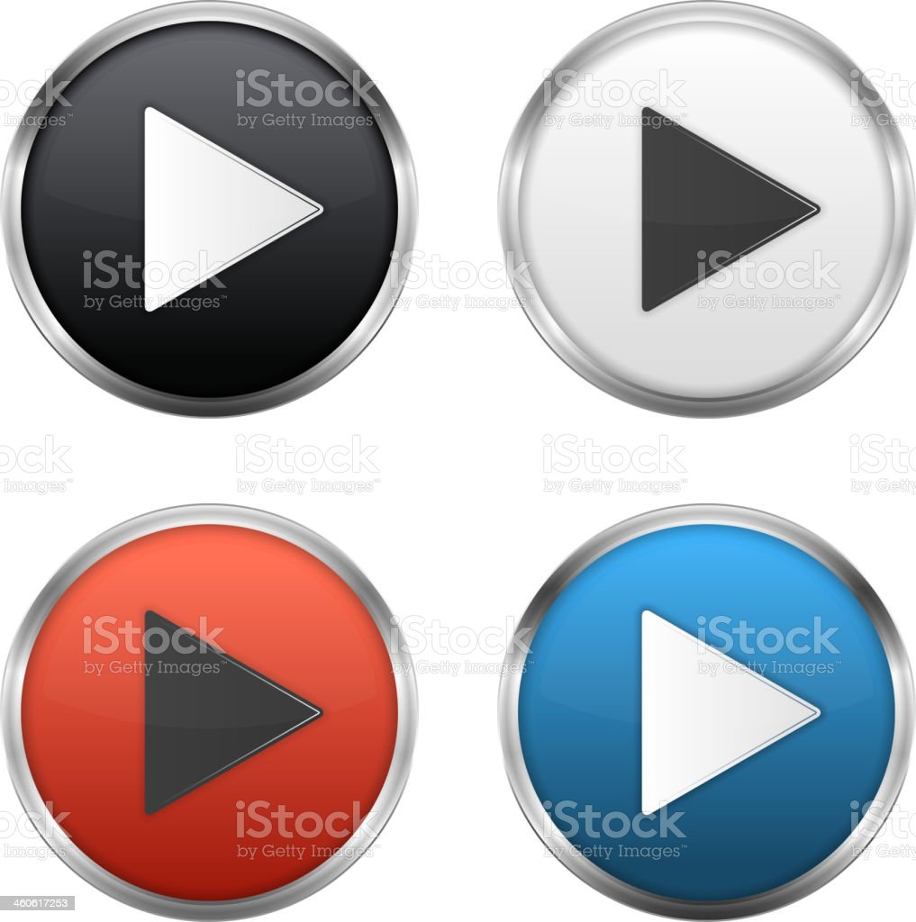 Different colored Circular play button set vector art illustration