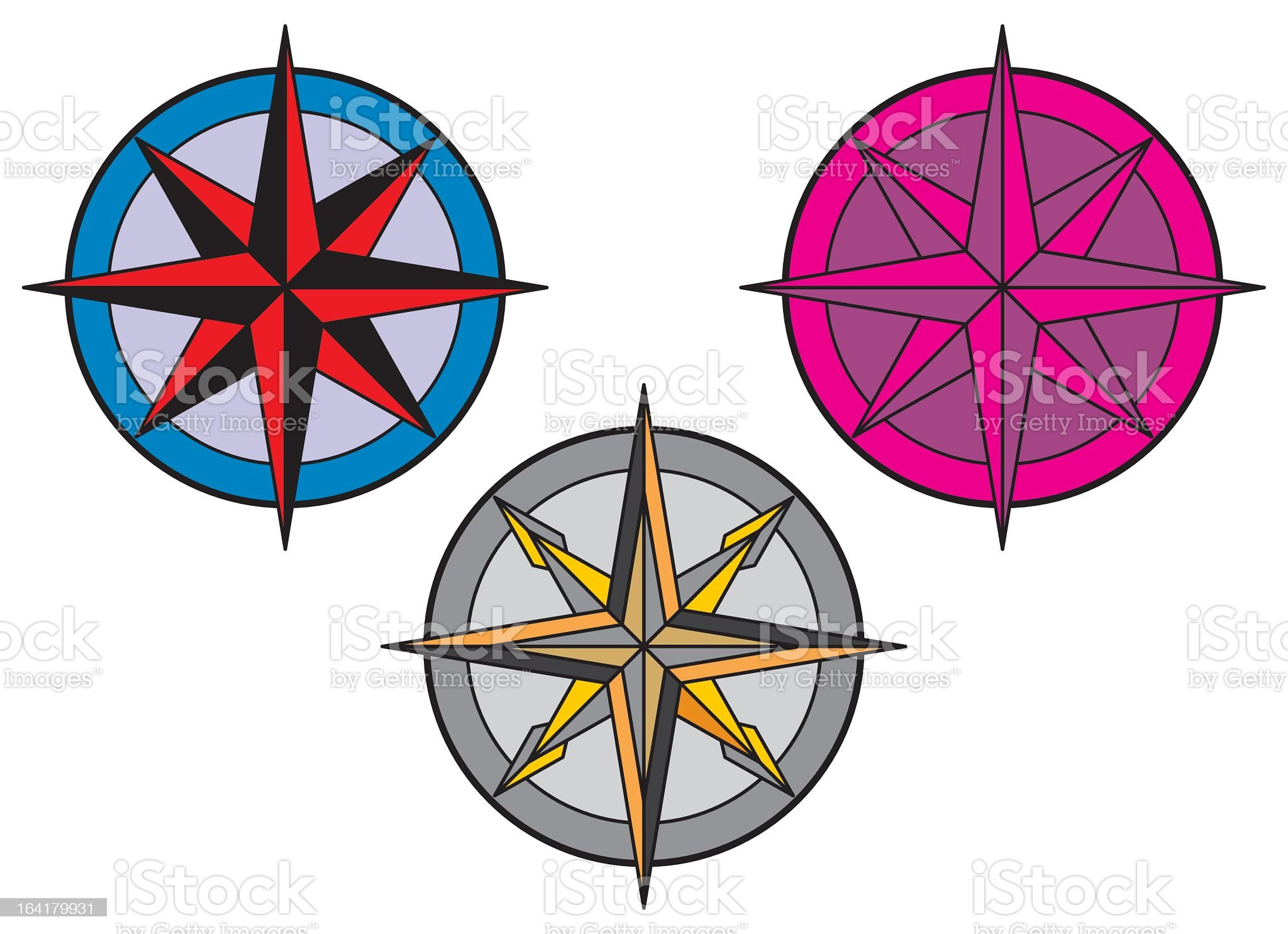 Different colored compass designs royalty-free stock vector art