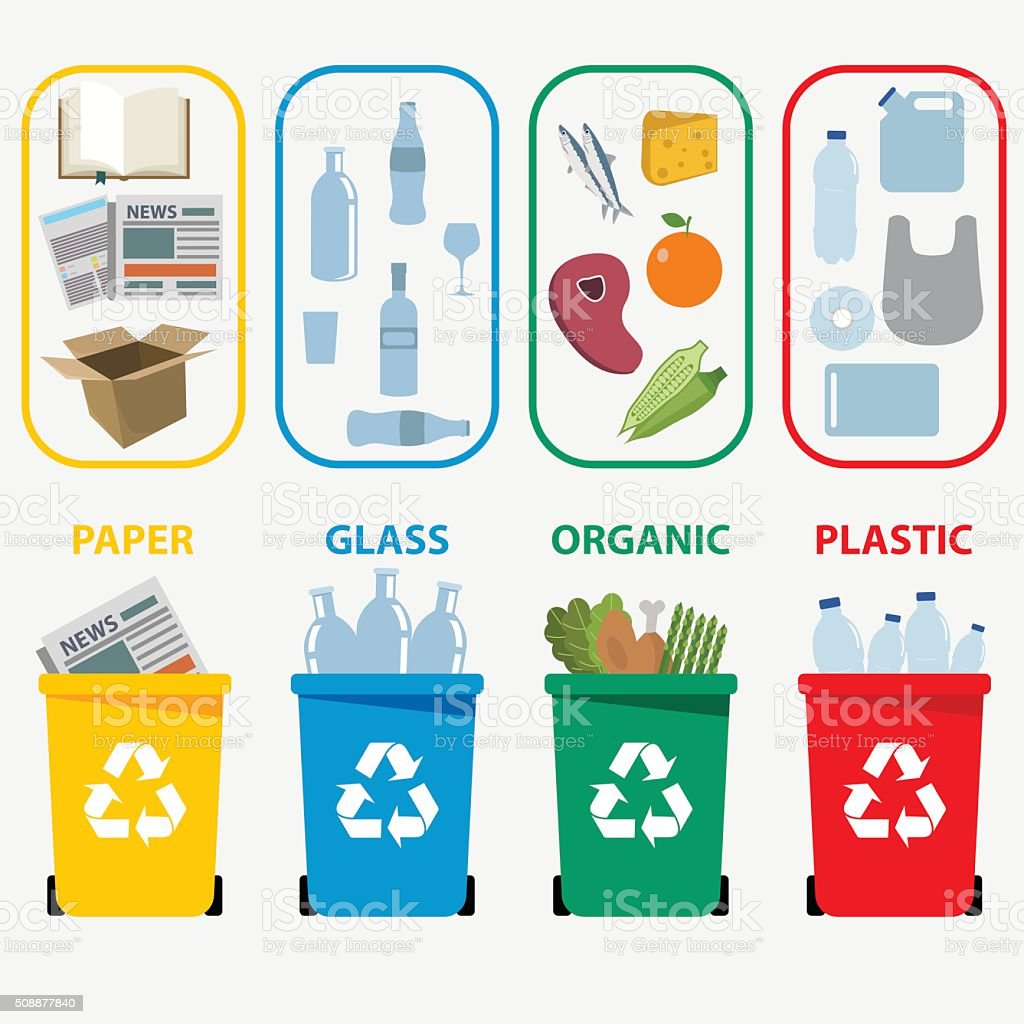 Different colored recycle waste bins vector art illustration