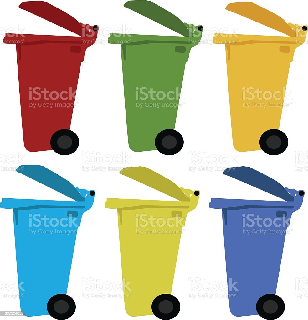 Different colored recycle waste bins vector illustration with trash. vector art illustration