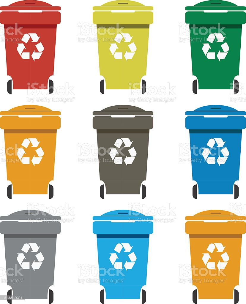 Different colored recycle waste bins vector illustration.waste bins with trash. vector art illustration