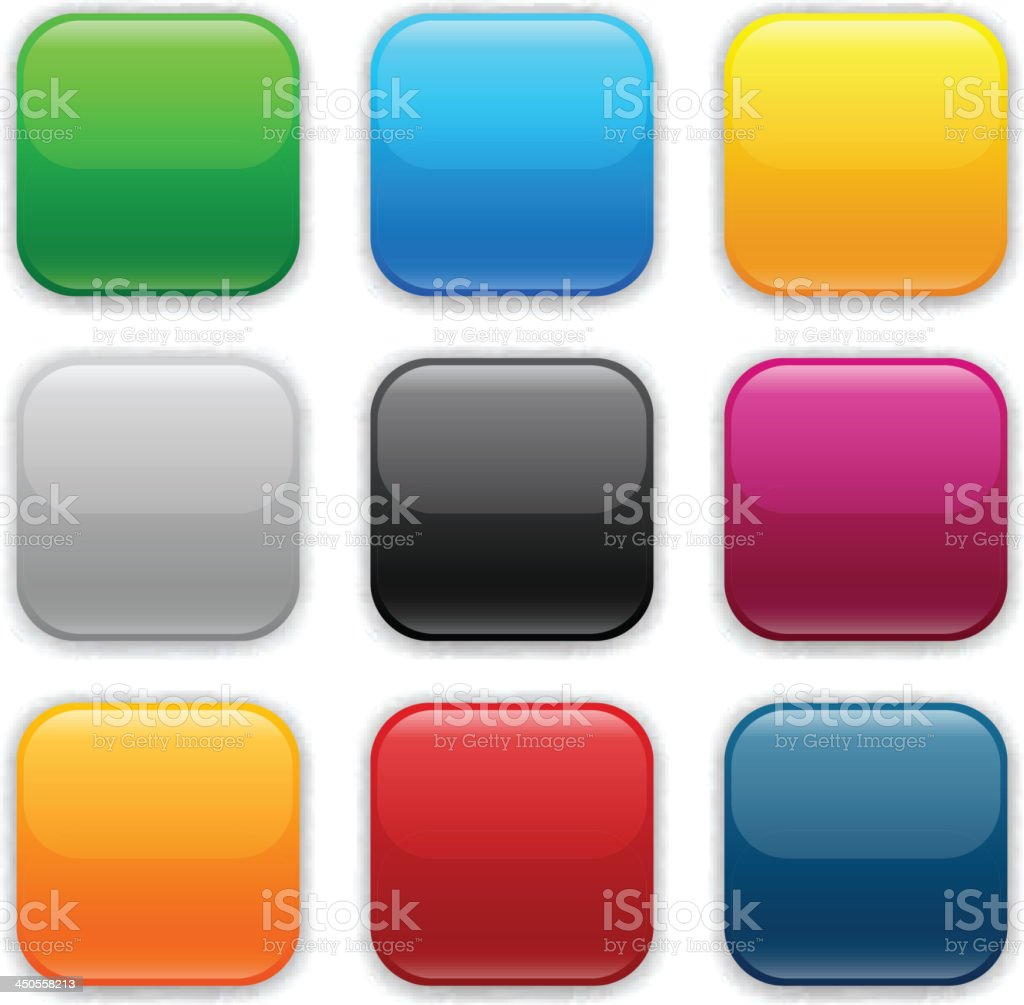 Different colored square icons vector art illustration