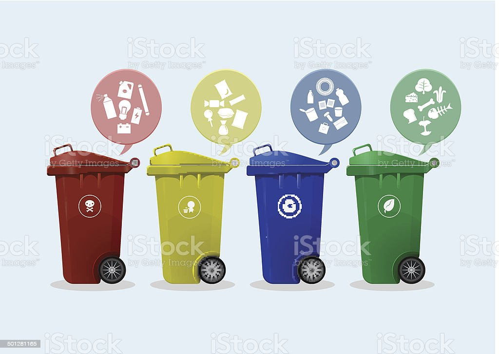 Different Colored wheelie bins set with waste icon vector art illustration