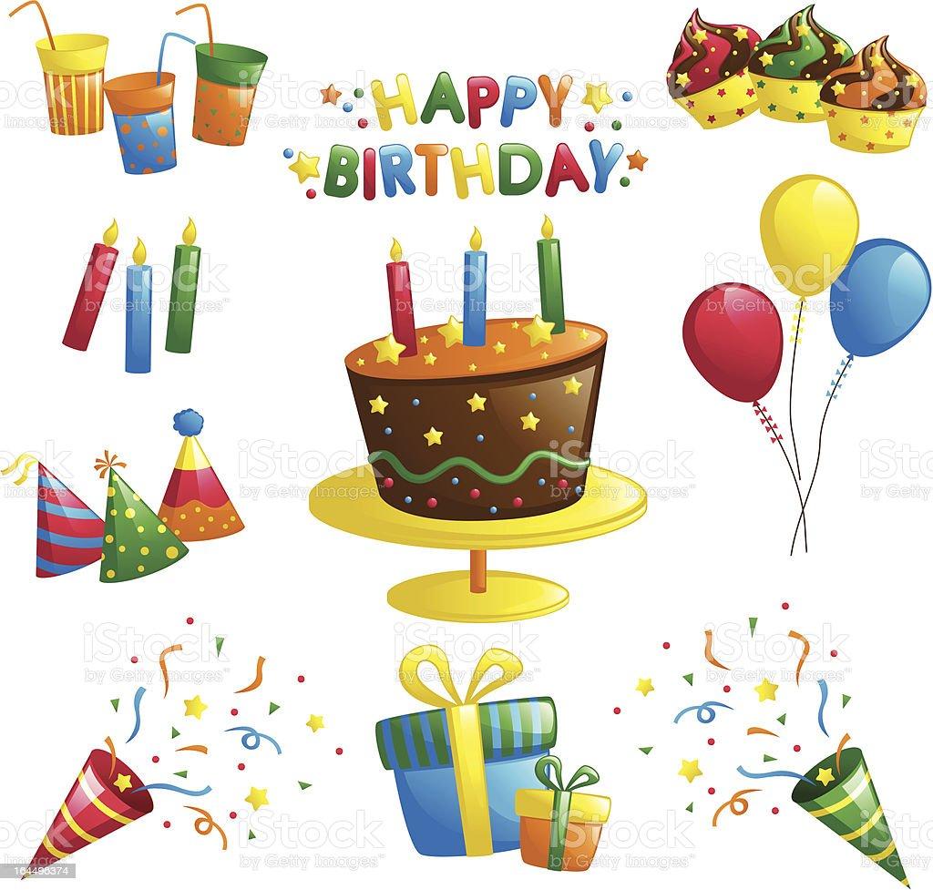 Different colorful birthday illustrations vector art illustration