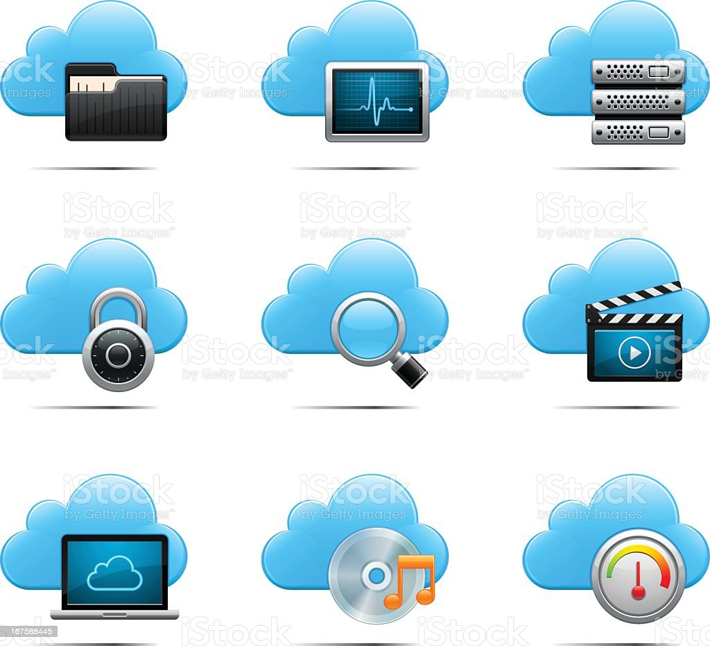 Different computing icons with cloud backgrounds royalty-free stock vector art