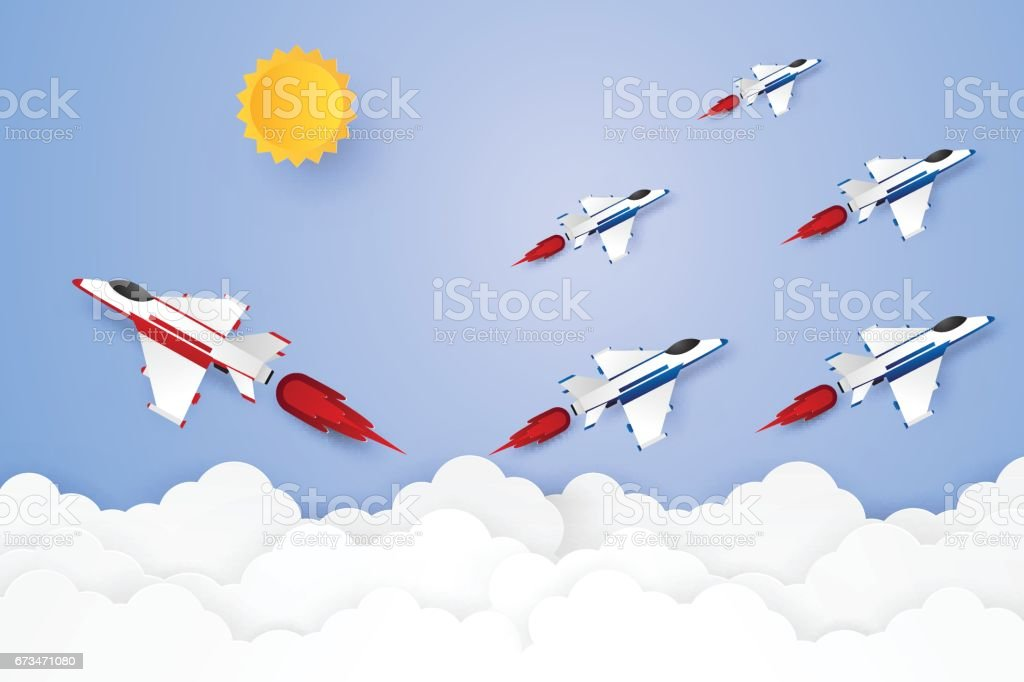Different concept , Jet plane flying in the sky vector art illustration