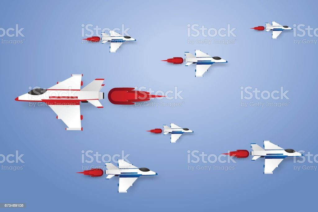 Different concept , Jet plane flying vector art illustration