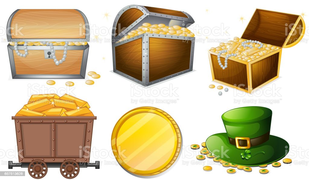 Different containers filled with gold vector art illustration