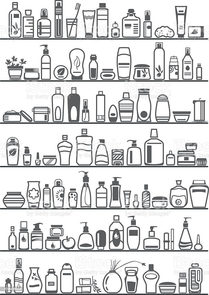 different cosmetic products for personal care vector art illustration