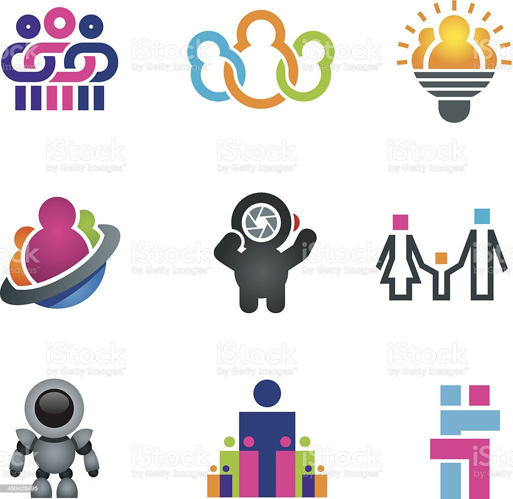 Different creative people vector art illustration