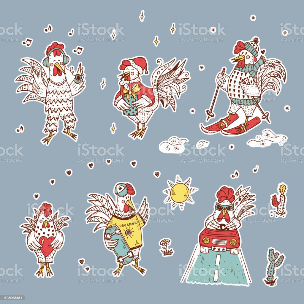 Different Cute Roosters Stickers Vector Set. Hand Drawn Doodle Cocks vector art illustration