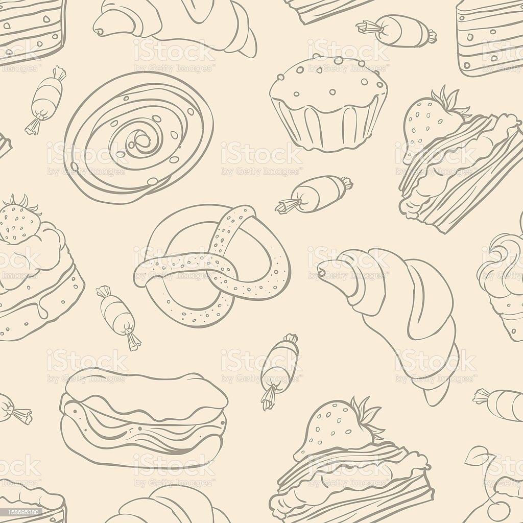 different desserts - 2 vector art illustration