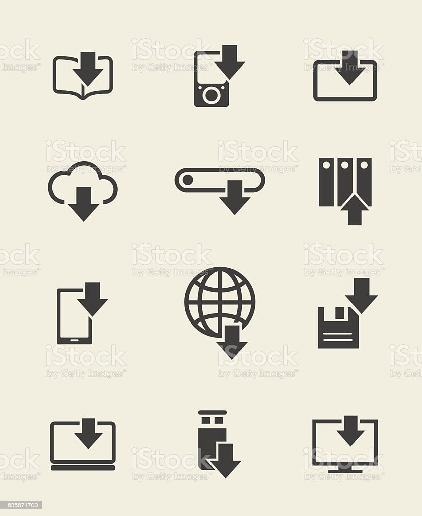 Different devices download icons vector art illustration