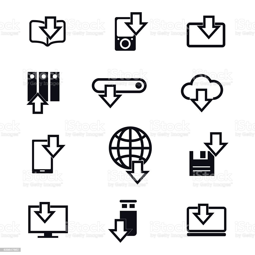 Different devices downloading line icons vector art illustration