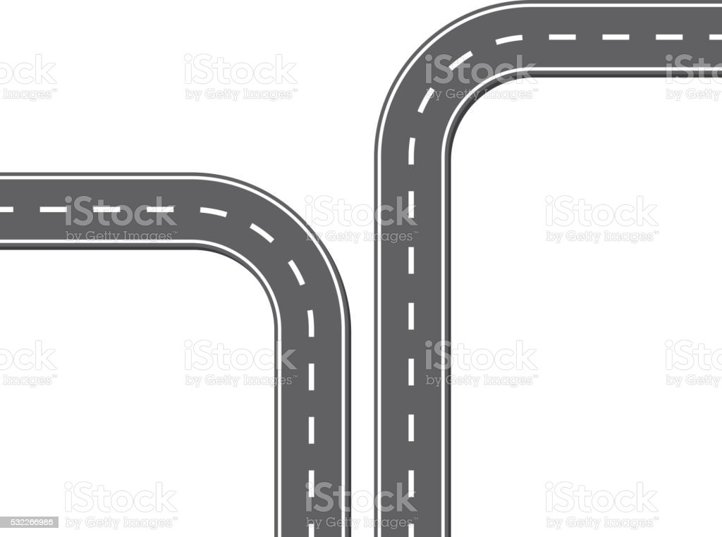 Different direction road vector art illustration