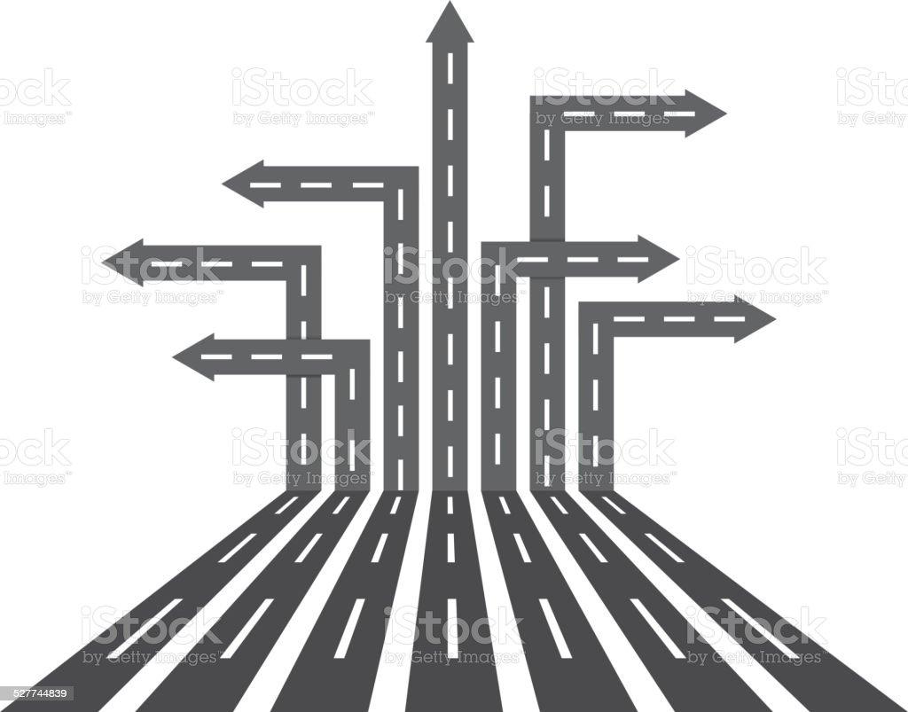 Different direction roads vector art illustration