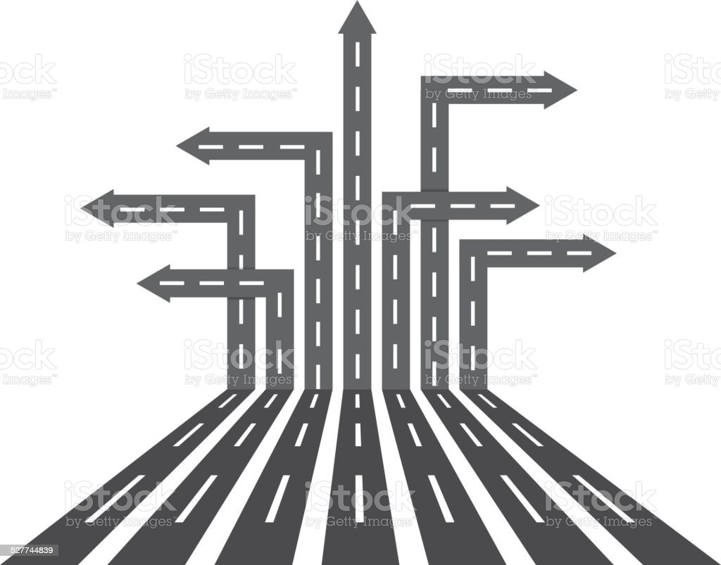 Different direction roads vector art illustration