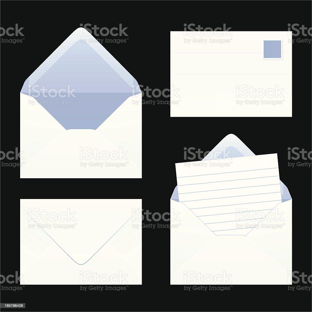 Different drawn depictions of envelopes vector art illustration
