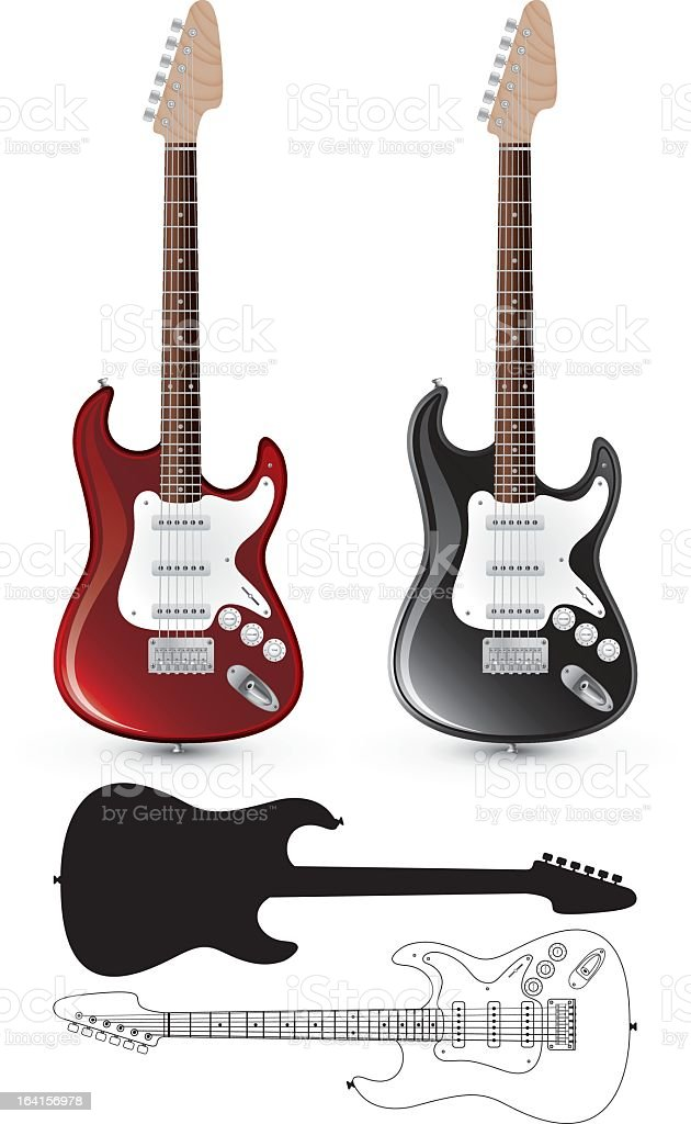 Different electric guitar styles vector art illustration