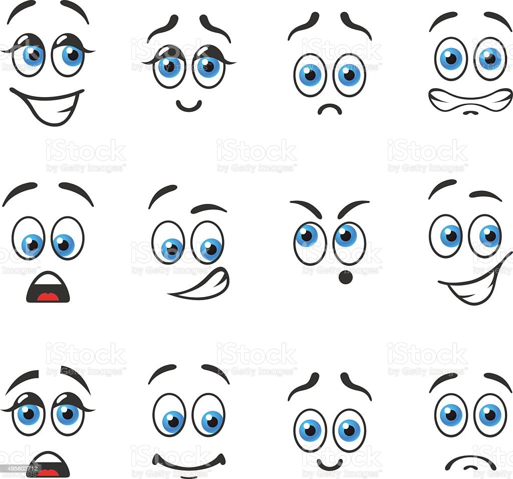 Different emotions with blue eyes vector art illustration