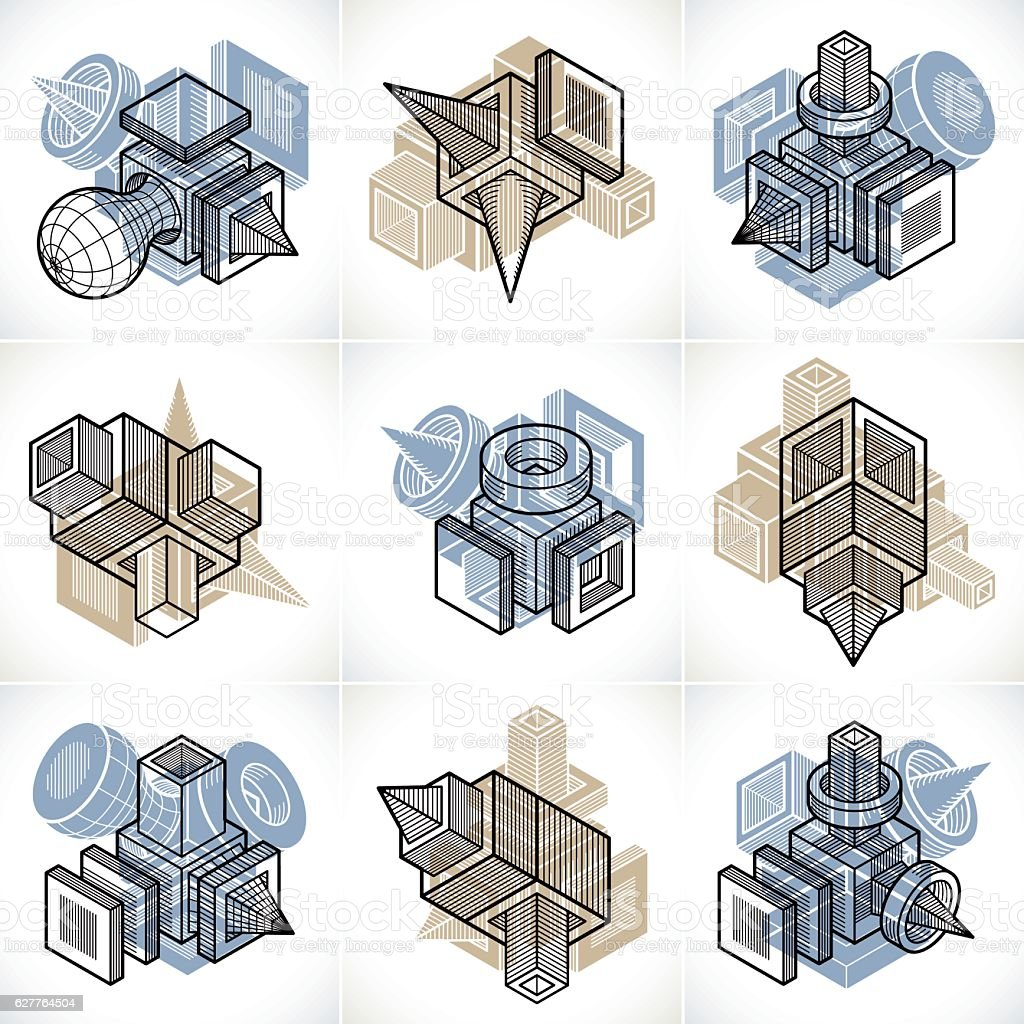 Different engineering constructions collection, abstract vectors vector art illustration