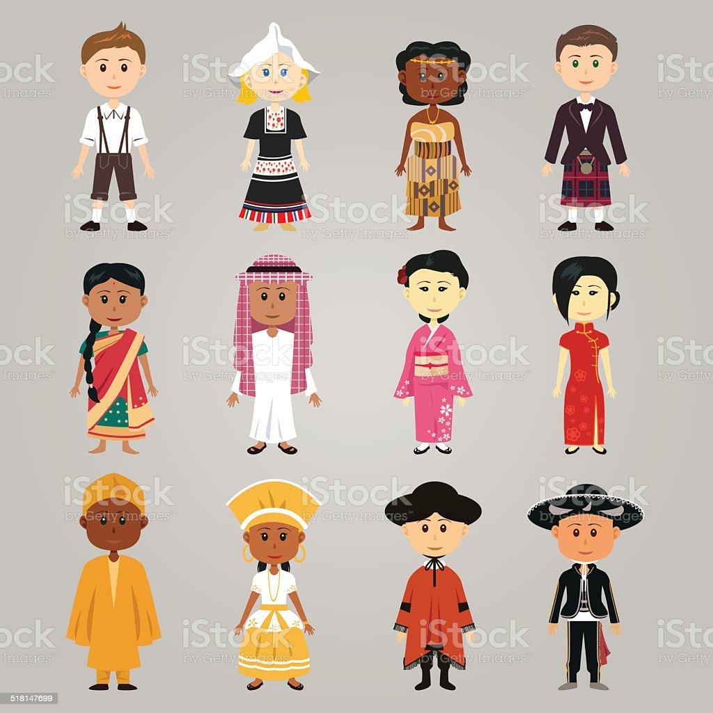 Different ethnic people vector art illustration