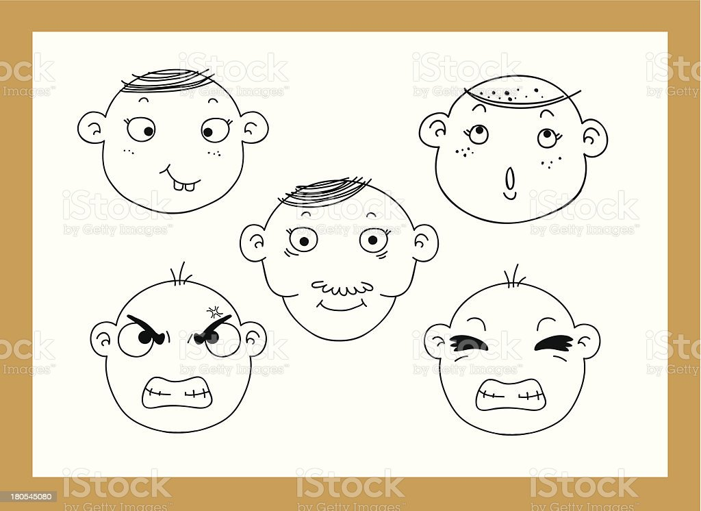 different facial expressions of a boy royalty-free stock vector art