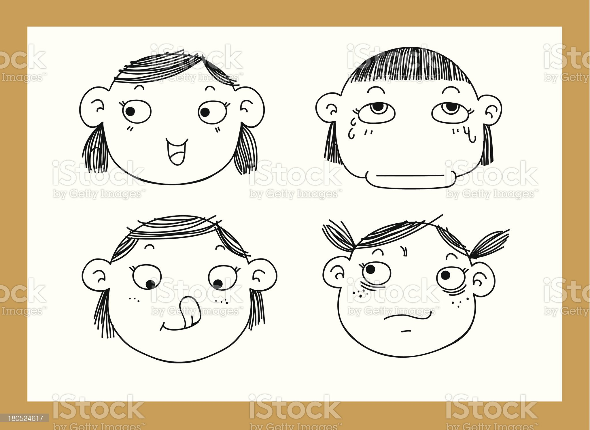 different facial expressions of a girl vector royalty-free stock vector art