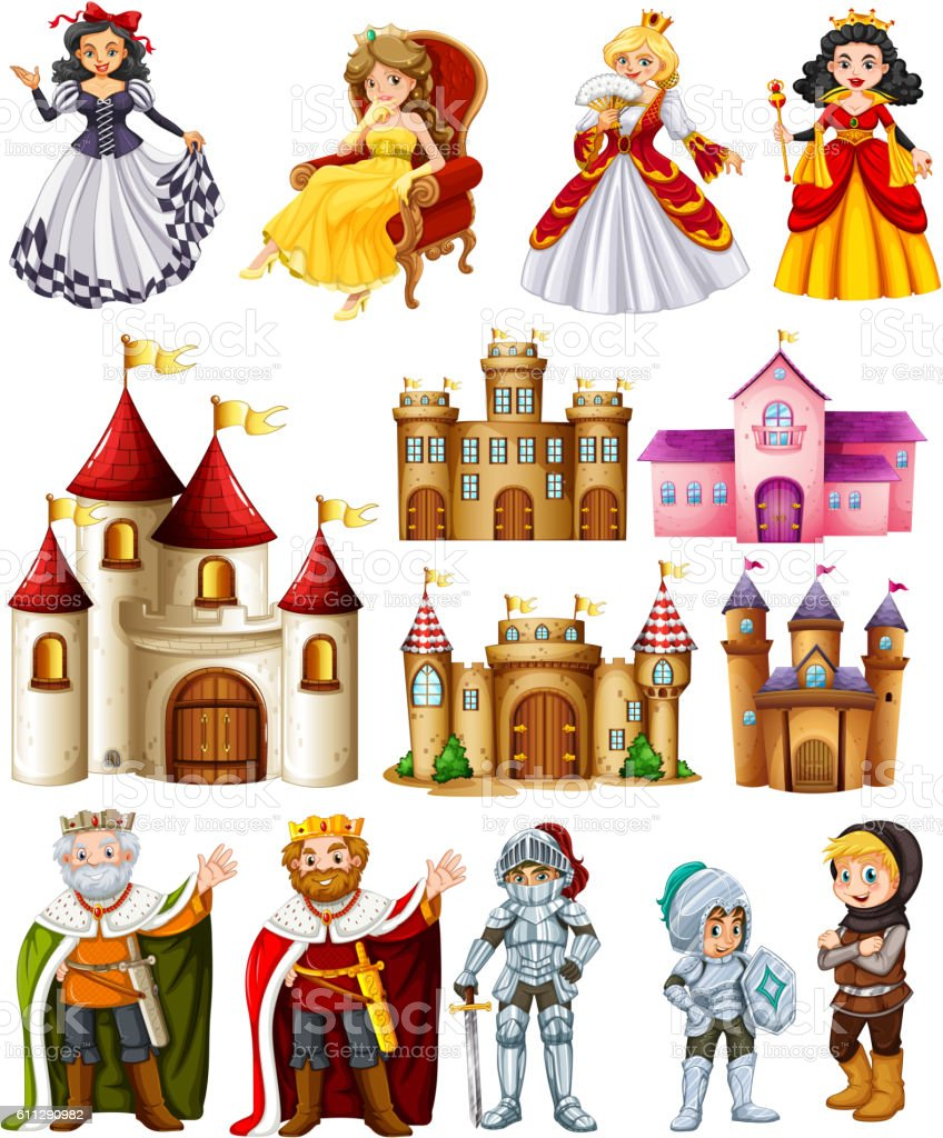 Different fairytales characters and palace vector art illustration