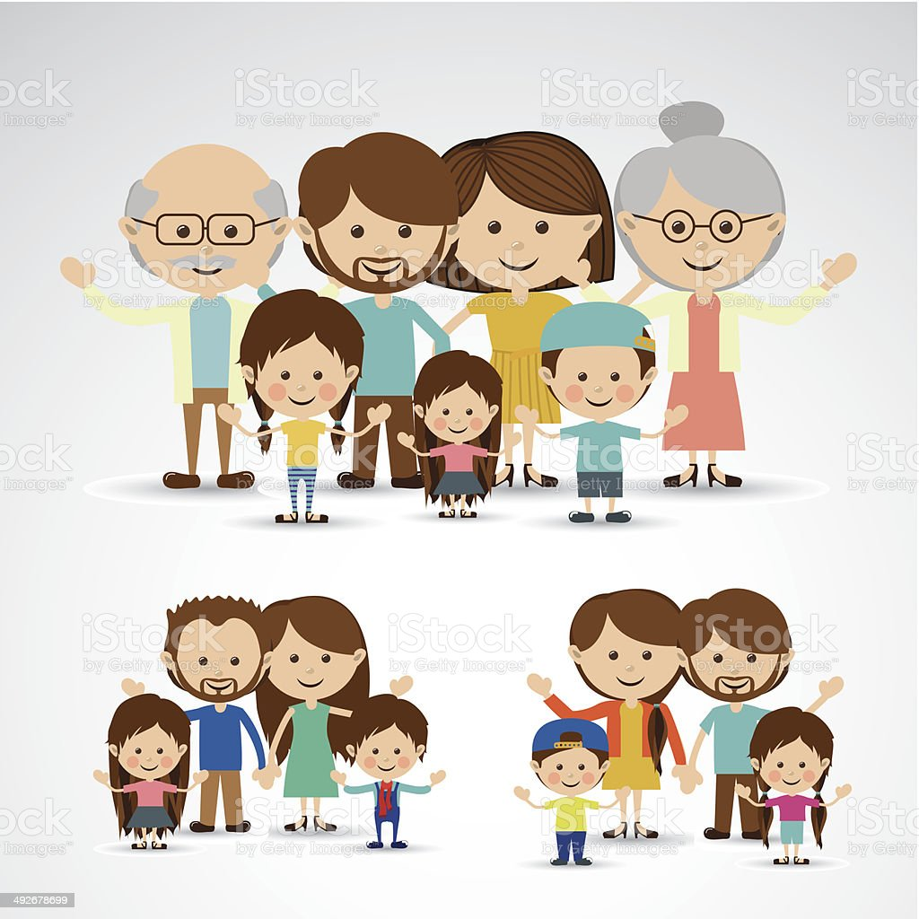 Different Families vector art illustration