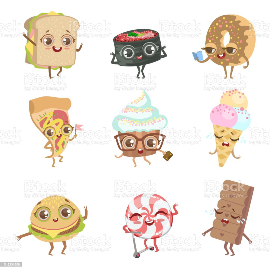 Different Food Childish Characters Emotion Collection vector art illustration