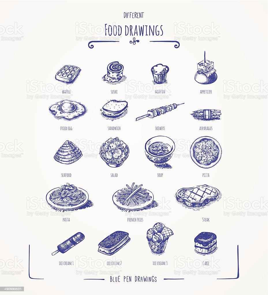 Different food drawings vector art illustration
