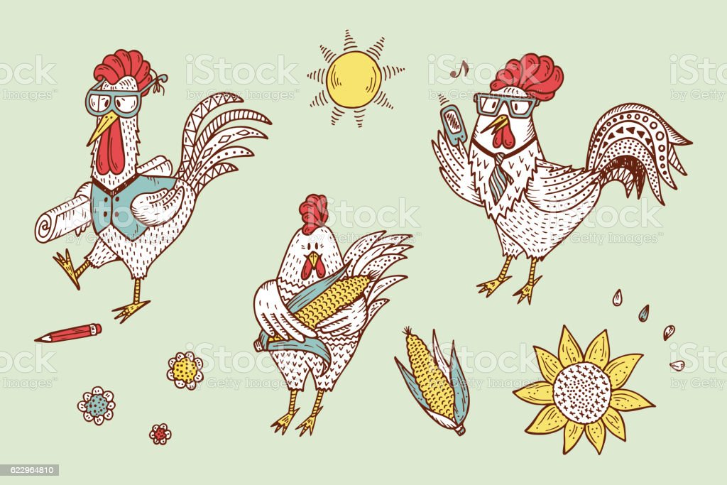 Different Funny Cartoon Roosters Vector Set. Hand Drawn Doodle Cocks. vector art illustration