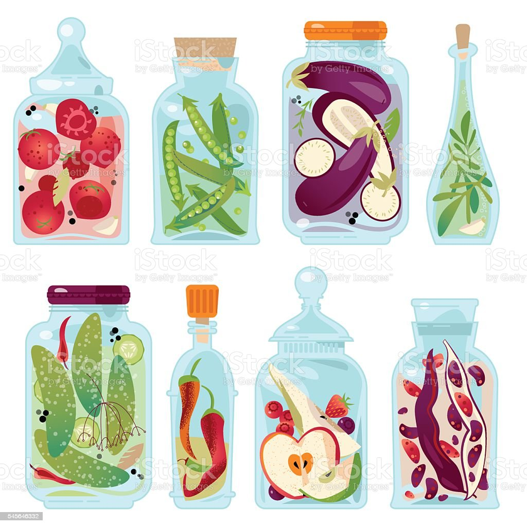 Different glass jars with preserved vegetables and fruit. vector art illustration
