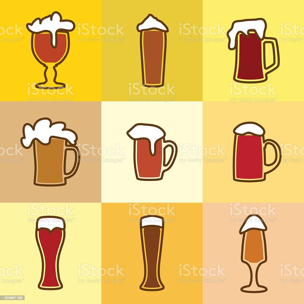 Different glasses of beer with spume vector art illustration