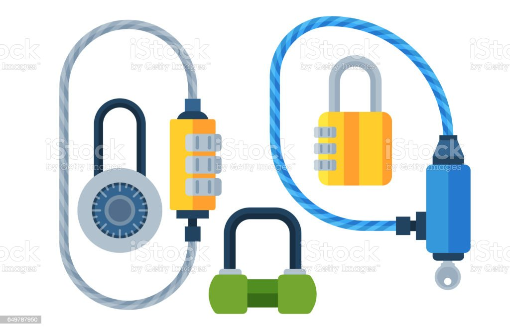 Different house door lock icons set vector safety password privacy element with key and padlock, protection security keyhole vector illustration vector art illustration