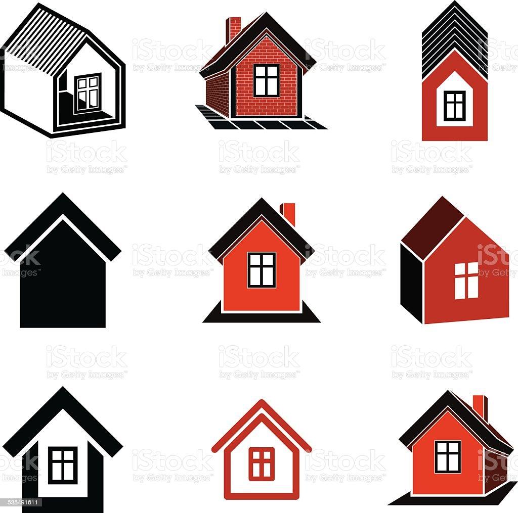 casas iconos diferentes para uso en diseo grfico juego libre de derechos libre de