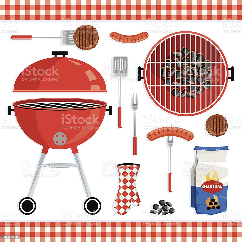 Different icons of a barbecue set vector art illustration