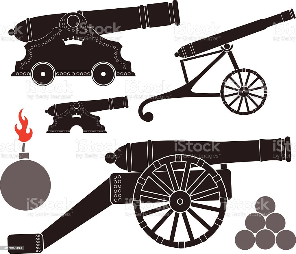 Different icons showing black cannons vector art illustration