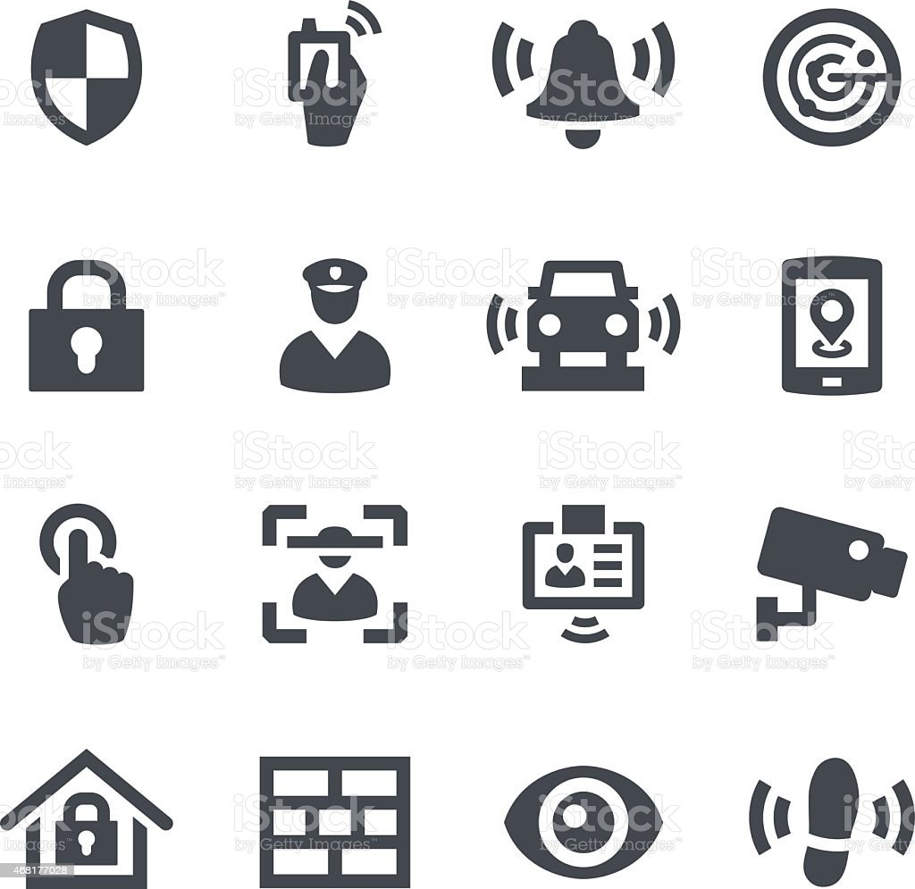 Different icons that represent security vector art illustration