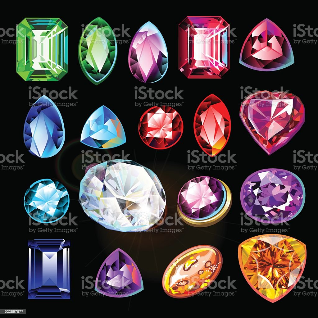 Different in color, shape and cut gems on black background. vector art illustration