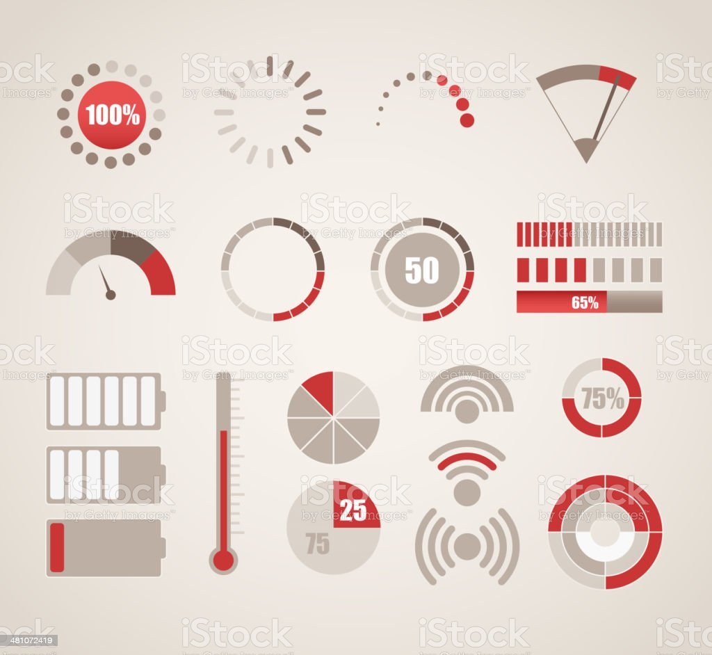 Different indicators collection vector art illustration